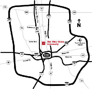 Map 1: Columbus road map indicating the location of OSU Campus and Columbus airport.